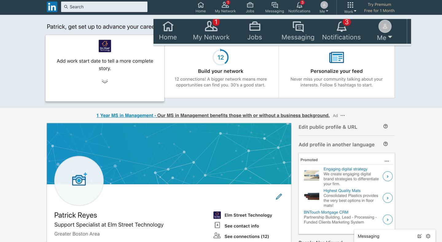 linkedin interface